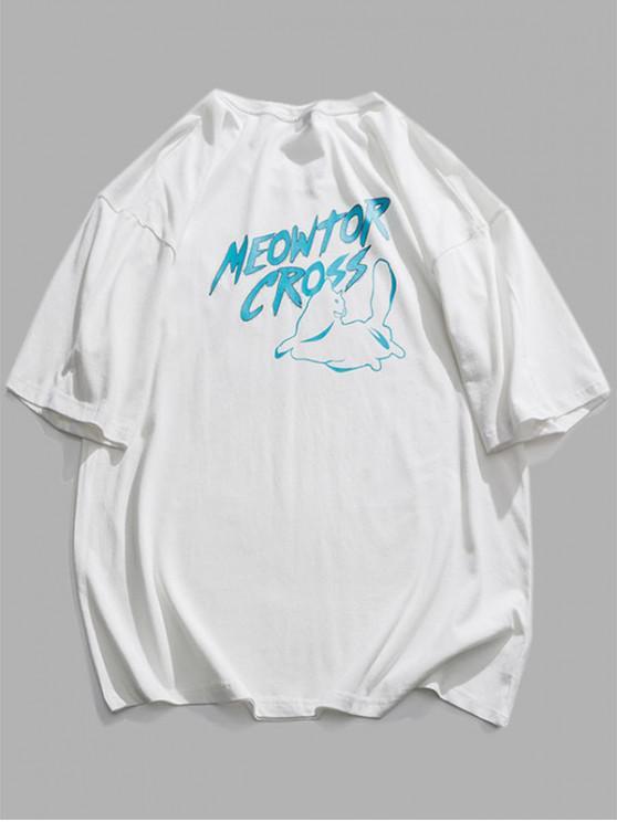 T-Shirt con Grafica di Lettera Animali - Bianca 2XL