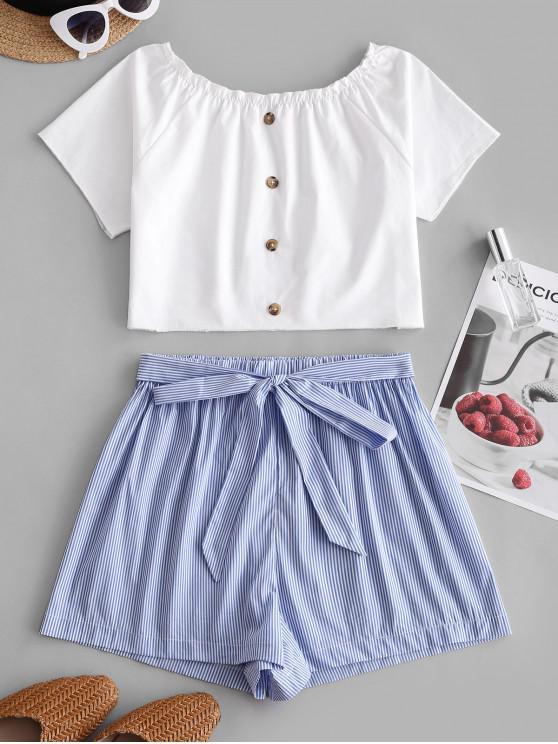 women ZAFUL Buttoned Tie Waist Stripes Two Piece Set - BABY BLUE S