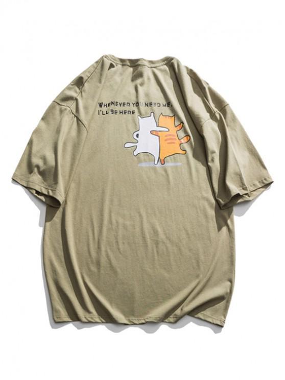 hot Slogan Cartoon Animal Graphic Basic T-shirt - GREEN 2XL