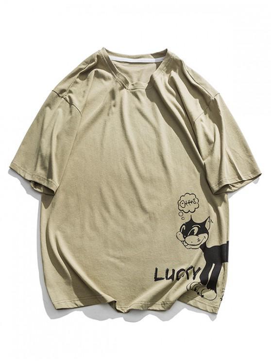 trendy Lucky Cartoon Cat Graphic Basic T-shirt - GREEN 2XL
