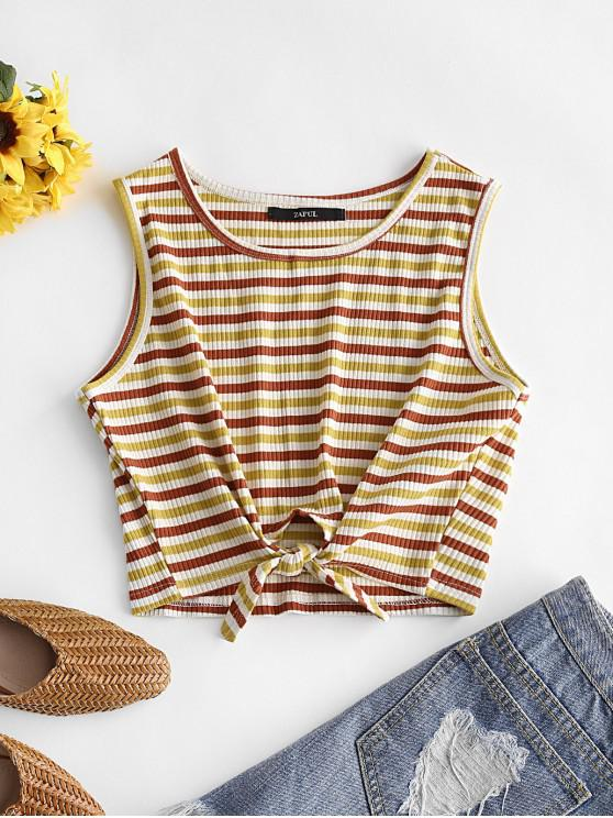 latest Striped Ribbed Tie Hem Tank Top - MULTI M