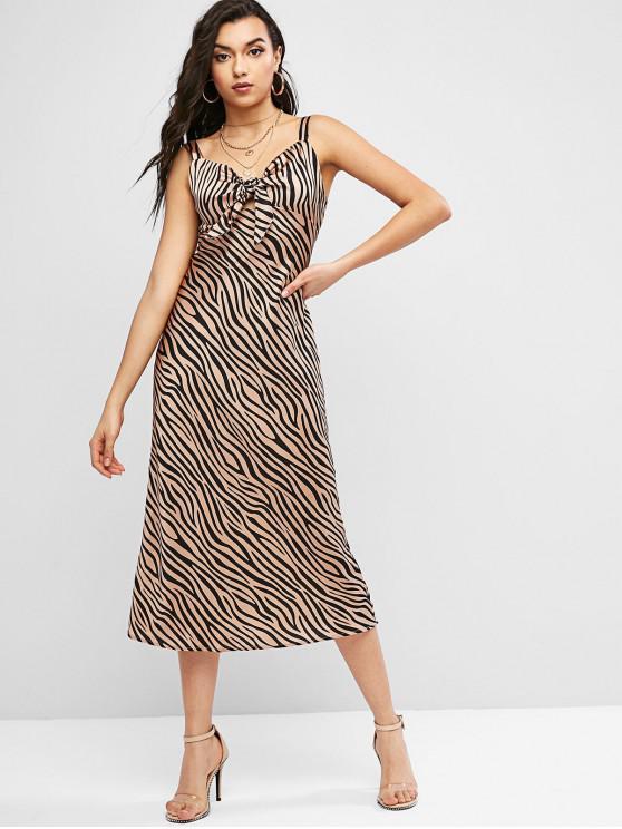 new Zebra Print Knotted Sleeveless Dress - APRICOT L
