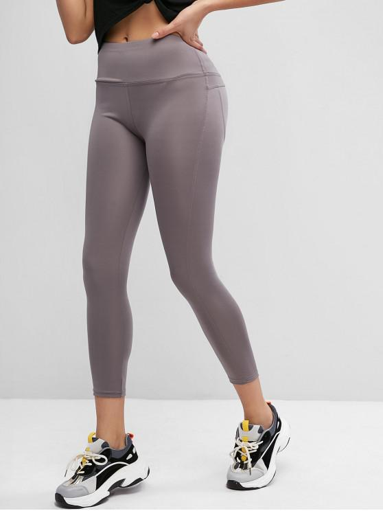 outfits High Waisted Stitching Sports Leggings - GRAY L