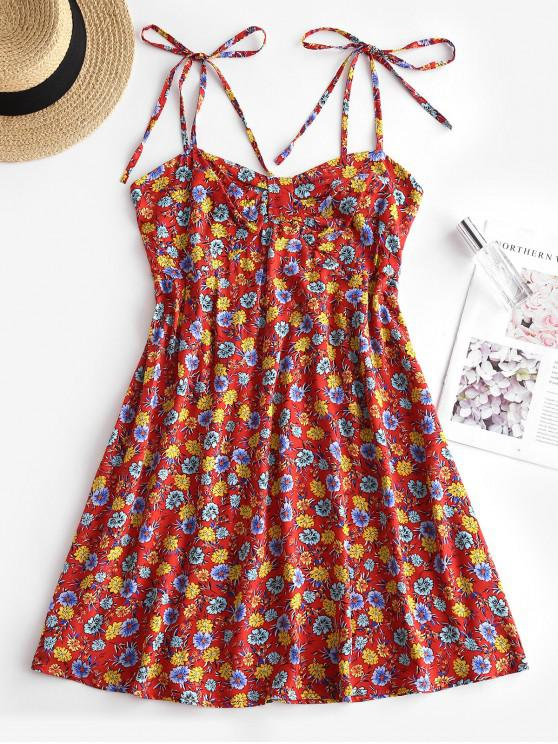 trendy Floral Print Smocked Back Tie Strap Dress - RED S