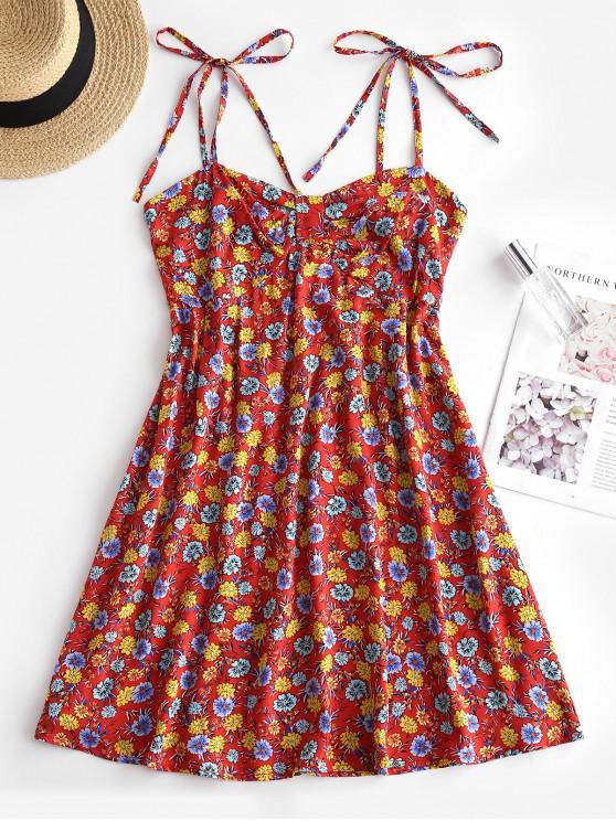 Floral Print Smocked Back Tie Strap Dress - أحمر L