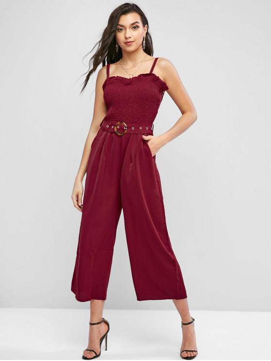 hot Smocked Buckle Belted Wide Leg Jumpsuit - RED L