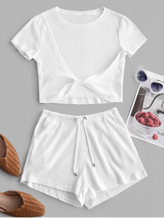 Conjunto de Shorts Rugoso com Bolso - Branco L