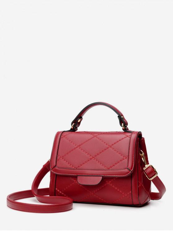 Minimalist Quilted Top Handle Leather Crossbody Bag - الحمم الحمراء