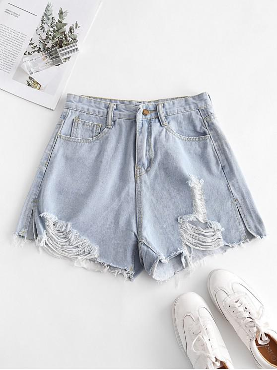 lady Distressed Denim Cutoffs Shorts - DENIM BLUE M
