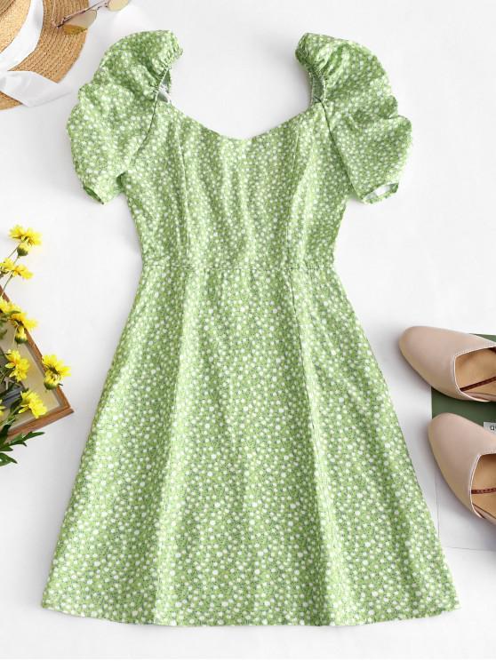 sale Ditsy Floral Puff Sleeve Milkmaid Dress - SALAD GREEN L