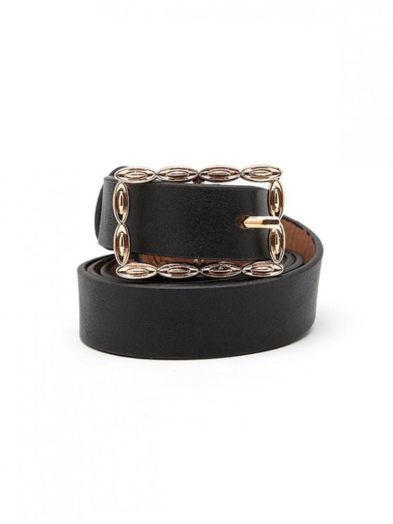 Cinturón Hueco de Hebilla Rectangular - Negro