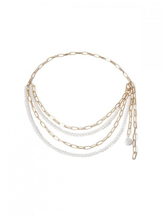 Collar en Capas Cadena Perla Artificial - Oro