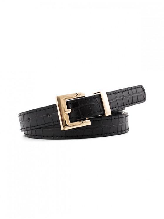 Cinturón Texturado Hebilla Cuadrada - Negro