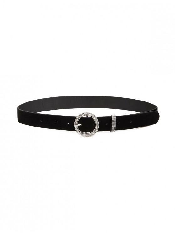 Cinturón Cuero Artificial Hebilla Broche Círculo Imitación Diamantes - Negro