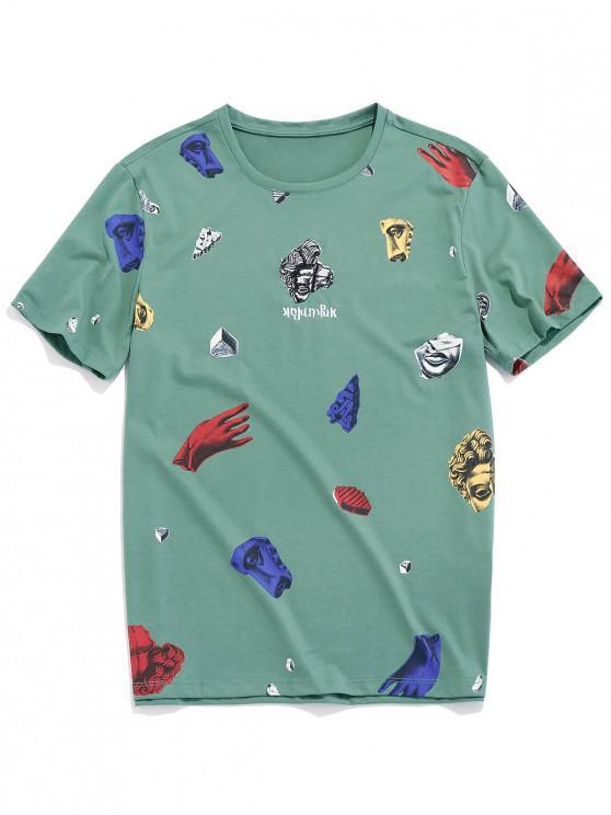 T-shirt Gráfico de Manga Curta de Padrão de Estátua - Verde de Mar  XS