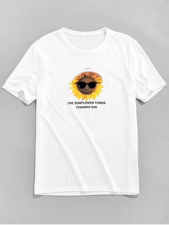Sunflower and Letter Printed Short Sleeve T-shirt - أبيض XS