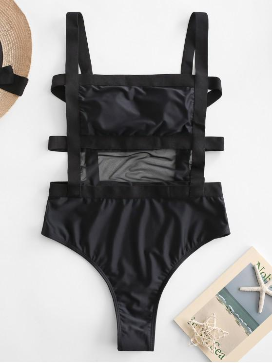 shops ZAFUL Mesh Insert Caged One-piece Swimsuit - BLACK XL