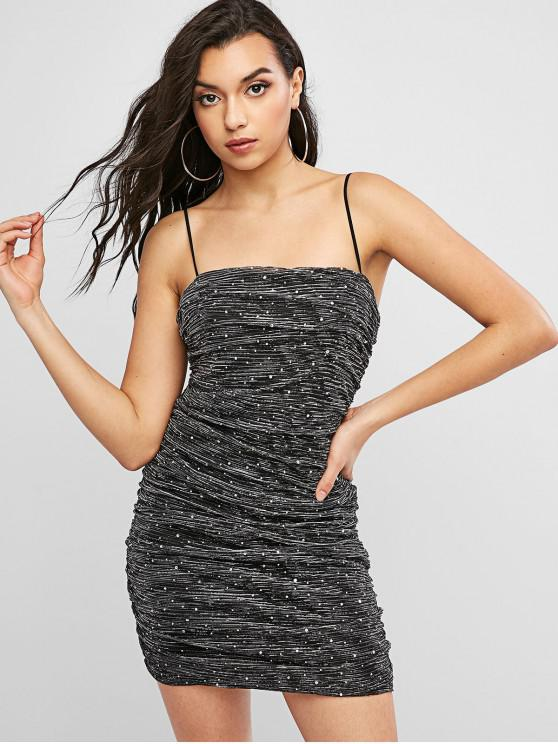 new Sequined Glitter Ruched Bodycon Dress - BLACK M