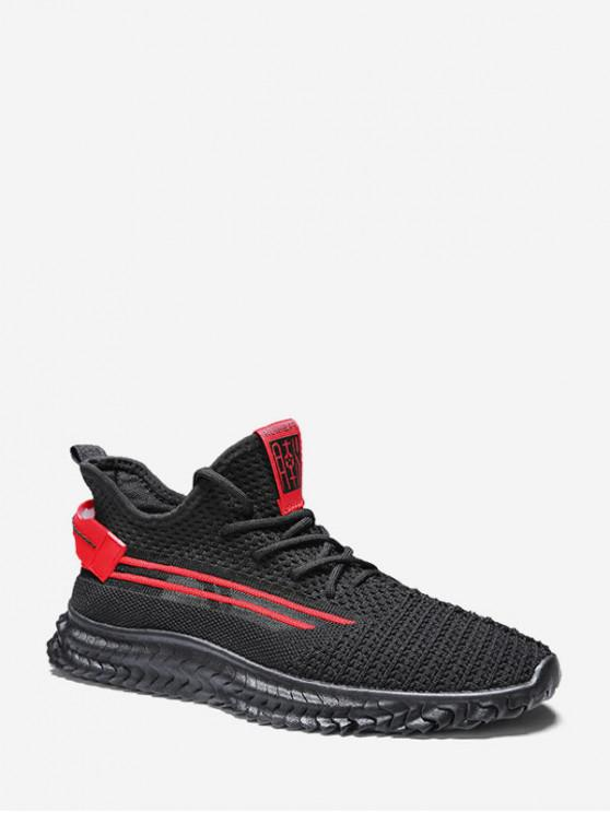 new Contrast Striped Woven Running Sneakers - RED EU 42