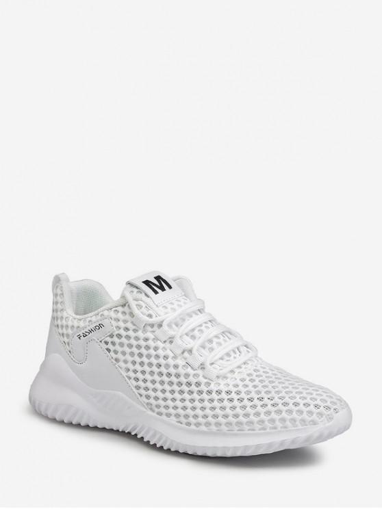 chic Plain Breathable Mesh Sport Sneakers - WHITE EU 43