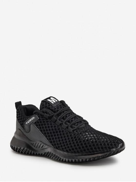 Plain respirabile Mesh Sport sneakers - Negru UE 42