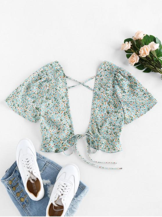 buy ZAFUL Ditsy Floral Plunging Cross Ruffle Tie Top - LIGHT GREEN L