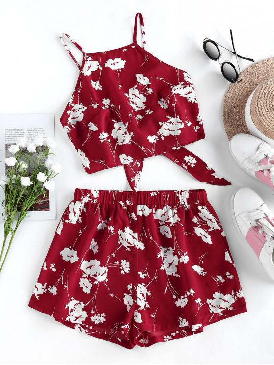 shops ZAFUL Flower Print Knot Cami Two Piece Set - RED WINE S