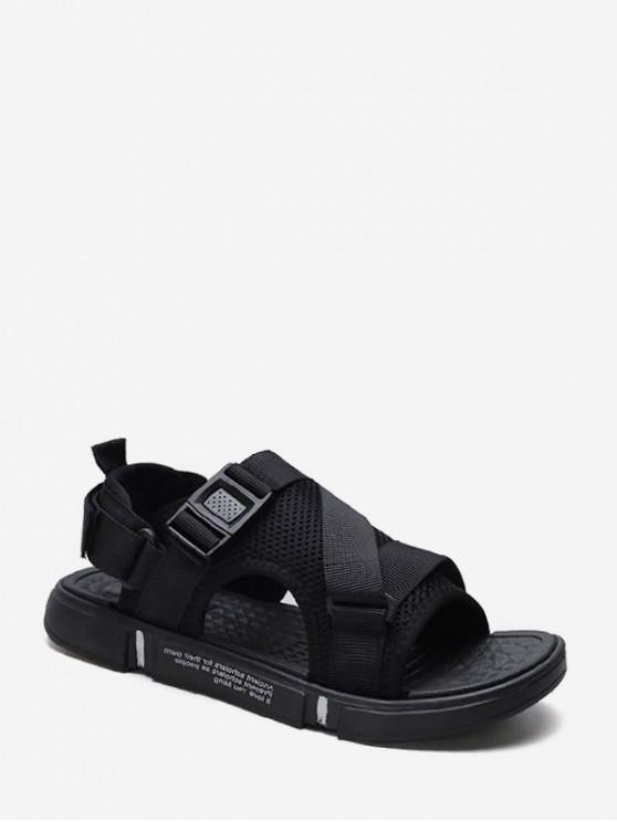 shops Open Toe Buckled Strap Casual Shoes - BLACK EU 44