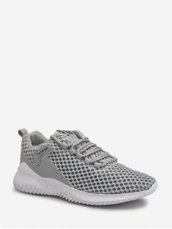 latest Plain Breathable Mesh Sport Sneakers - GRAY EU 42