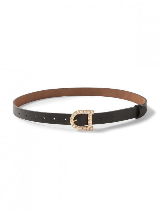 Cinturón de Hebilla Perla Artificial - Negro