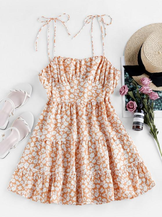 new ZAFUL Ditsy Floral Tie Shoulder Cami Flounce Dress - DEEP PEACH L