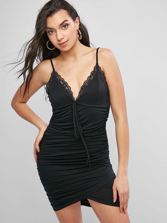 ZAFUL Bodycon Camisole Kleid mit Spitzenbesatz und Rüschen - Schwarz L