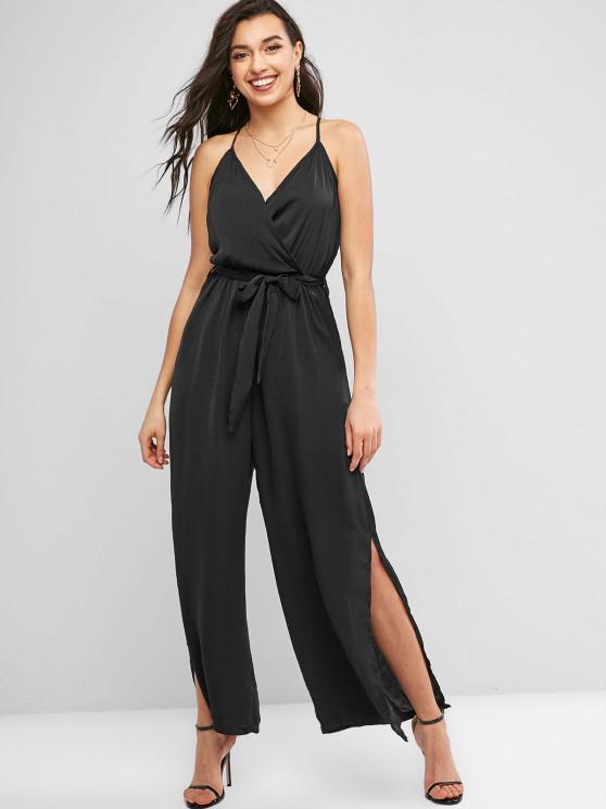 fashion Cami High Slit Belted Wide Leg Jumpsuit - BLACK L