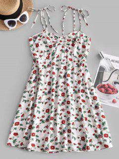 Floral Print Smocked Back Tie Strap Dress - White M