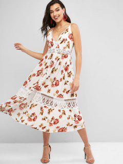Smocked Crochet Panel Button Loop Floral Dress - White S