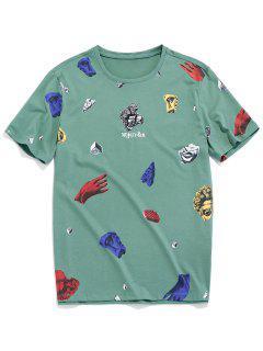 Statue Graphic Short Sleeve T-shirt - Sea Green Xs