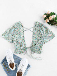 ZAFUL Ditsy Floral Plunging Cross Ruffle Tie Top - Light Green S