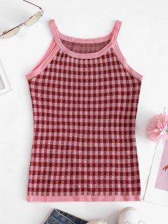 Plaid Slim Knitted Tank Top - Red Wine