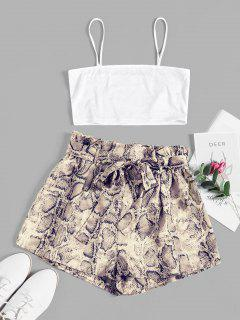 ZAFUL Snake Print Belted Co Ord Set - Milk White M
