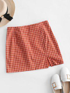 Side Zipper Plaid Front Slit Mini Skirt - Orange M