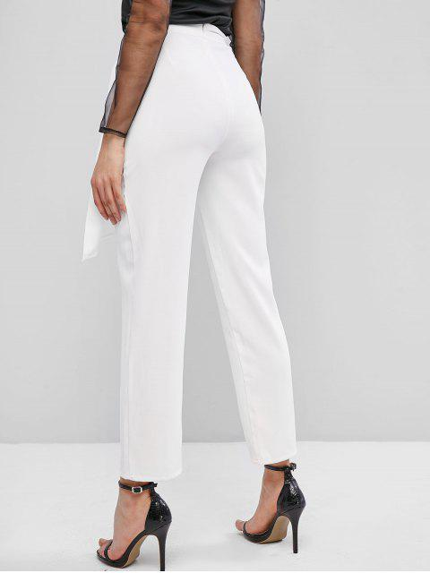sale ZAFUL High Waisted Overlap Front Straight Pants - WHITE M Mobile