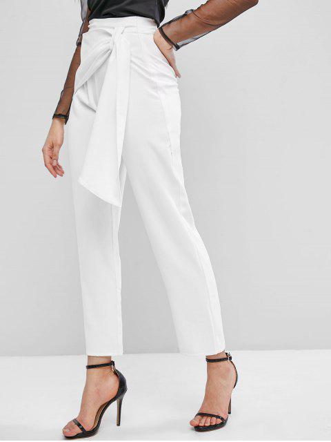 outfits ZAFUL High Waisted Overlap Front Straight Pants - WHITE S Mobile