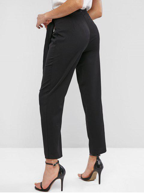 lady ZAFUL High Waisted Overlap Front Straight Pants - BLACK XL Mobile