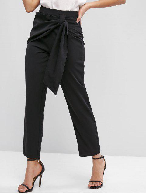 sale ZAFUL High Waisted Overlap Front Straight Pants - BLACK S Mobile