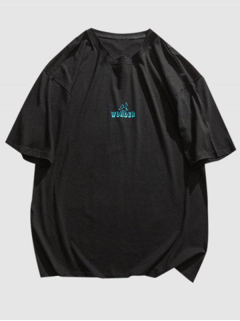 T-Shirt con Grafica di Lettera Animali - Nero L Mobile