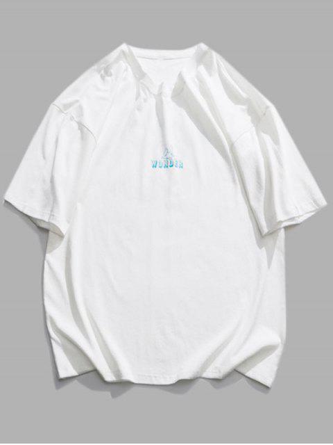 T-Shirt con Grafica di Lettera Animali - Bianca 2XL Mobile