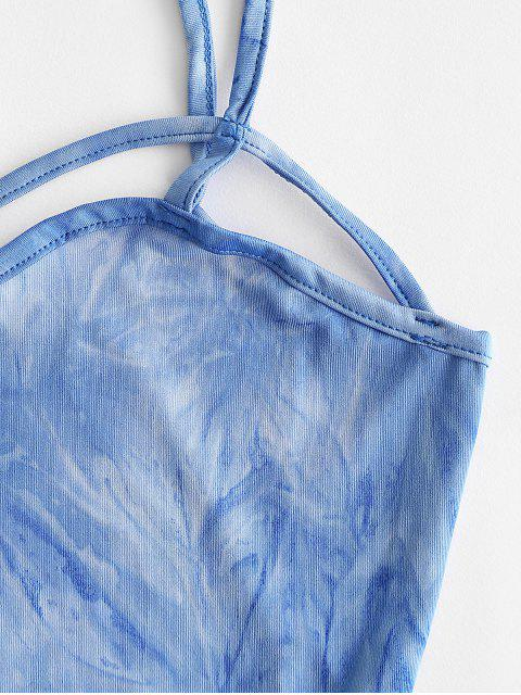 Cruzado Tingimento de Gravata Cami Top Cortado - Azul L Mobile