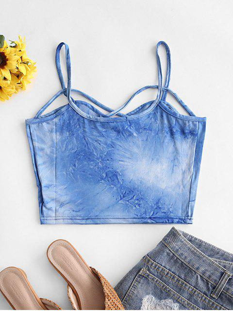 Top Corto Incrociato di Tie-Dye - Blu S Mobile