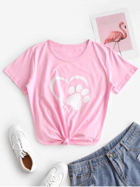 T-shirt Patte de Chat Cœur Imprimés à Manches Courtes - Rose  L Mobile
