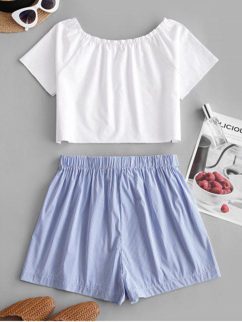 women ZAFUL Buttoned Tie Waist Stripes Two Piece Set - BABY BLUE S Mobile
